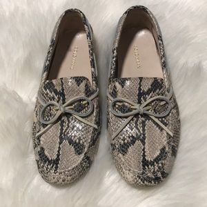Cole Haan Snake Flat Loafers Brown Black